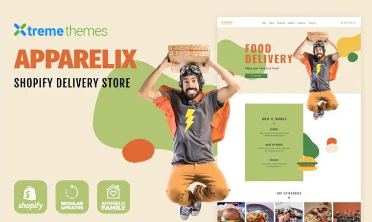 Food delivery Apparelix family Shopify template
