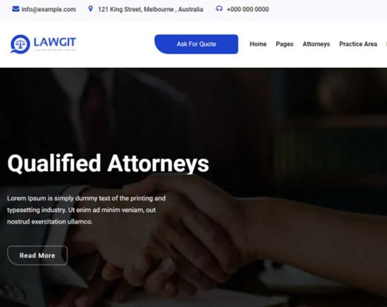 LawGit - lawyer WordPress theme by Themehurst