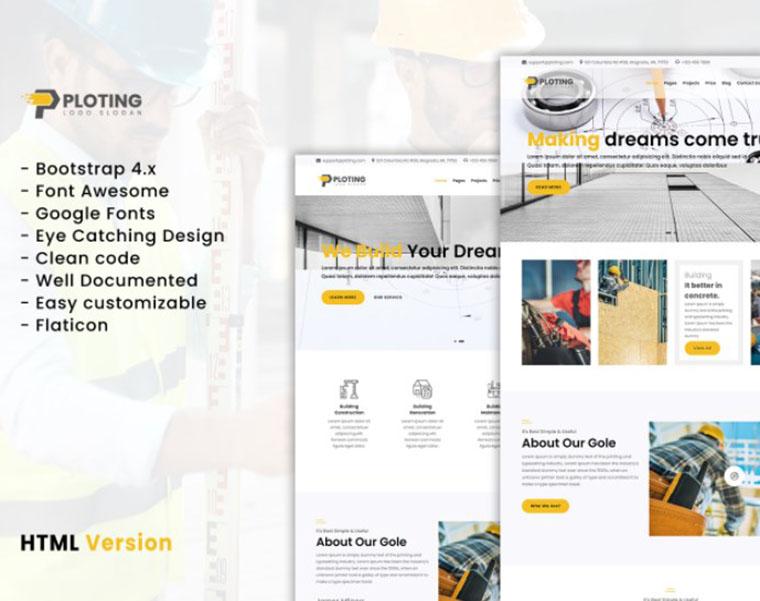 Ploting - construction & architecture WordPress theme by Themehurst