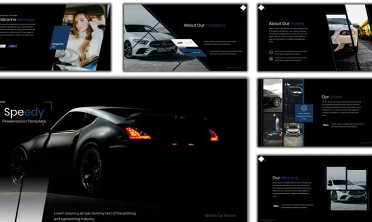 Speedy - Car Services PowerPoint template by Abukick