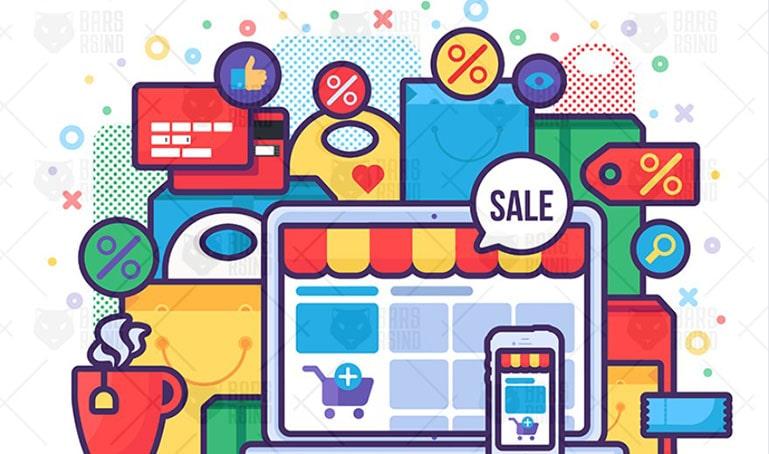 Online sale in shop concept illustration