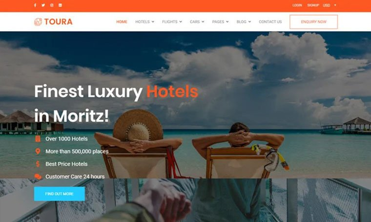 Toura - Travel Agency Website template by Codezion