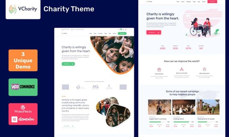 vCharity - Nonprofit WordPress theme by srthemes