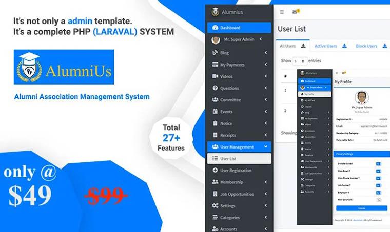 Alumnius - Association Management System Admin Template by Bitspeck