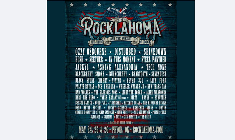 Rocklahoma festival poster with Black Queen Font